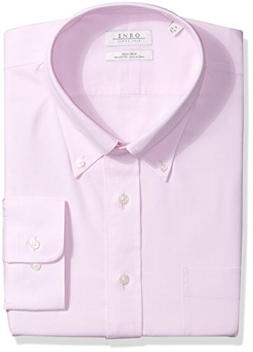 Enro Men's Big and Tall Non-Iron Pinpoint Oxford Dress Shirt, Pink, 20.0 x 34/35 Enro Pinpoint