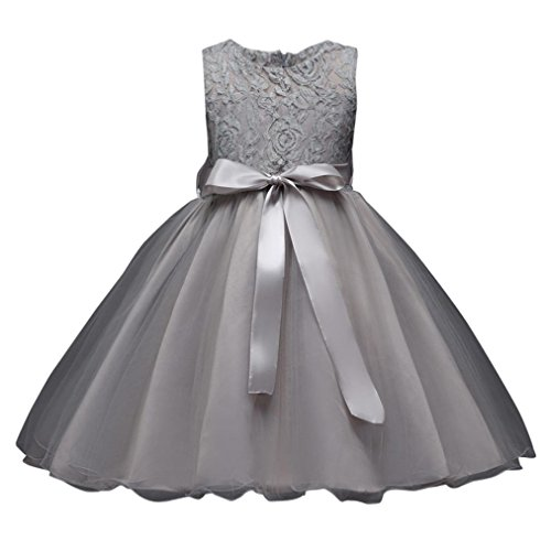 5 Colors Lace Flower Girl Tutu Dress Kids Bow Christening Wedding Pageant Dresses (4T(4-5 Years), Gray)