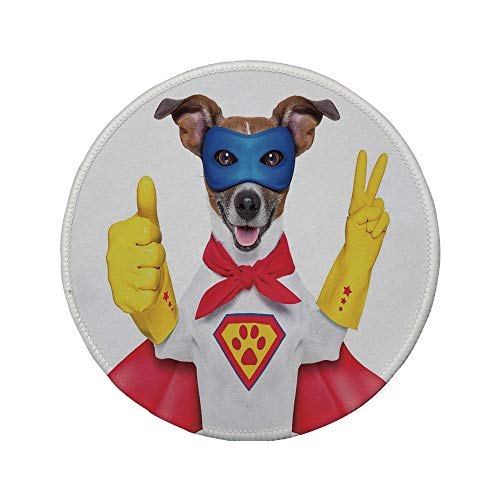 Non-Slip Rubber Round Mouse Pad,Superhero,Super Puppy Hero Dog in Cape and Mask Costume Humor Funny Cute Picture Decorative,Red Yellow Royal Blue,7.87
