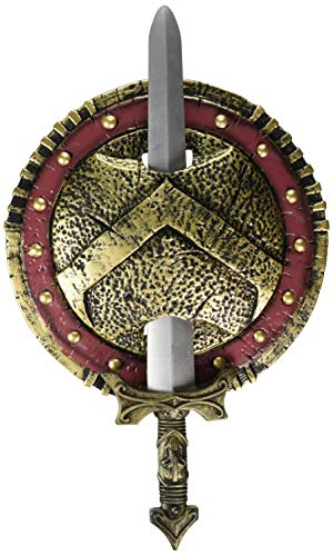 California Costumes Spartan Combat Shield And Sword, Red/Gold, One Size Costume Accessory -