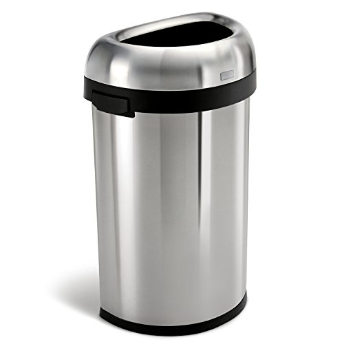 Half Round Trash Open Top (simplehuman Semi-Round Open Trash Can, Commercial Grade, Stainless Steel, 60 L / 16)