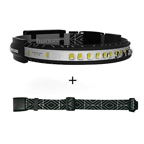 hurkins Orbit, 180˚ Wide Angle Rechargeable Headlamp (Black, Orbit+Extention Belt)