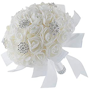 Shallylu Wedding Bouquets, Bridal Rose Bouquet Bridesmaid Hand Bouquets with Crystal Rhinestone Pearl Ribbon Artificial Fake Foam Holding Flowers 74