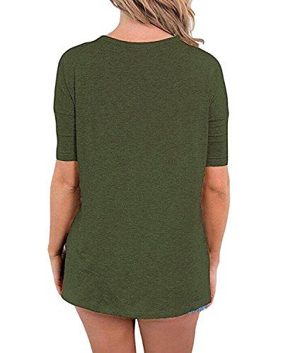 Auxo Mujer Verano V Cuello Manga Corta Camisetas T Shirt blusa Algodón Camisa Blusas Verde