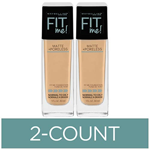 Maybelline Fit Me Matte + Poreless Liquid Foundation Makeup, Classic Ivory, 2 COUNT Oil-Free Foundation