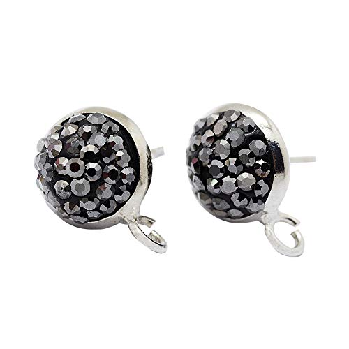 PandaHall 3 Pairs Polymer Clay Czech Rhinestones Stud Earring Findings, with Brass Findings, Half Round, Platinum, 14x10x5mm, Hole: 2mm; Pin: ()