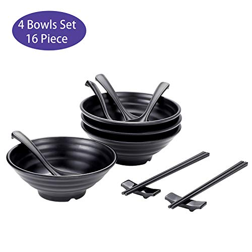 (4 Sets (16 Piece) Ramen Bowl Set 20 fl.oz Large Restaurant Quality Melamine Dinnerware Japanese Style with Spoons Chopsticks and Stands for Noodle, Pho, Soba, Udon or Any Soup Meal -Matte Black)
