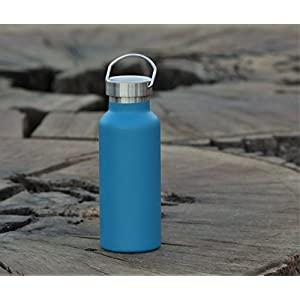 MIRA 17 Oz Stainless Steel Vacuum Insulated Water Bottle | Thermos Keeps Drink Cold for 24 hours & Hot for 12 hours, Doesn't Sweat | Large Powder Coated Flask with 2 Lids | Hawaiian Blue