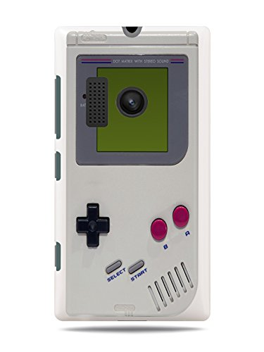 "GRÜV Premium Case - ""Retro 80s 90s Handheld Portable Videogame Game Boy Console"" Design - Best Quality Designer Print on White Hard Cover - for Nokia Lumia 505"