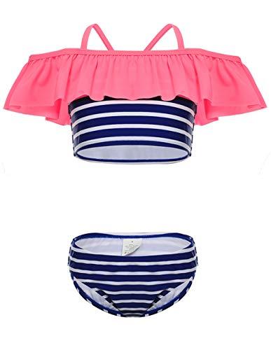 LEINASEN Kids Ruffles Off Shoulder Stripes Bikini Bathing Suit for Girls