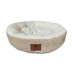 American Kennel Club AKC Casablanca Round Solid Pet Bed, Beige