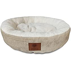 American Kennel Club AKC Casablanca Round Solid Pet Bed, Beige