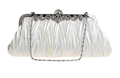 niceEshop(TM) Oro Bolso de Embrague Exquisita Cristal Plisado Decorativo de la Noche de Fiesta para Mujer Beige