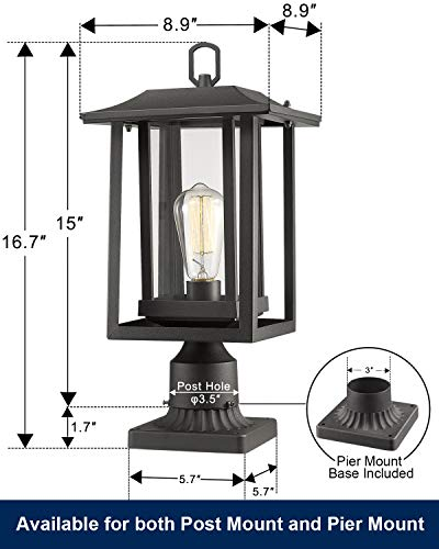 Beionxii Outdoor Post Light Fixture, Set of 2 Large Exterior Post Lantern with 3-Inch Pier Mount Base, Sand Textured… - ✅ INDUSTRIAL STYLE WITH MODERN APPEAL: Mix of modern and industrial elements, This outdoor pole lamp features an open metal outer cage which enhances its line silhouette. The perfect addition to your exterior ensemble with this pole lantern light. ✅ TWO MOUNTING WAYS: Includes pier mount base is available for both Post Mount and Pier Mount. This outdoor pier mount light is completely weather-resistant for any outdoor environment, perfect for garden, backyard, courtyard, patio, balcony, porch, pathway or entryway. ✅ BULB REQUIREMENTS: This outdoor pillar light is fully compatible with E26 Base LED, Incandescent, CFL Bulbs (60w Max, Bulb NOT included). Recommend using LED Vintage Style Bulb. - patio, outdoor-lights, outdoor-decor - 41burCYBidL -