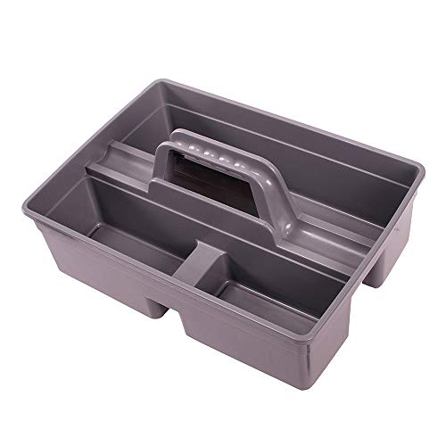 Jiaan Plastic Storage Tray Tote- Versatile Multiuse Caddy with Attached Portable Handle to Organize and Carry Tools 14.9 * 10.8 * 4.5 inch High Capacity (Gray)
