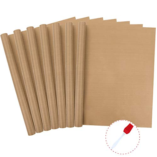 BAKHUK 7 Pack Teflon Sheet Heat Press Resistant Transfers Paper Non-Stick Baking Mats 16 x 24 + 1 Silicone Brush