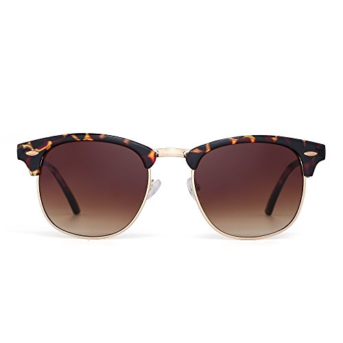 Retro Clubmaster Sunglasses Semi Rimless Browline Eyeglasses for Women Men (Tortoise / Gradient - Shell Tortoise Clubmaster Sunglasses