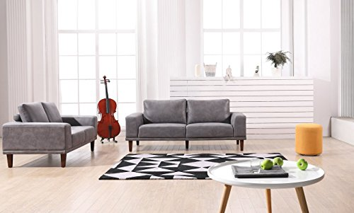 Container Furniture Direct Church Living Room Furniture Set, S5343-2PC, Dark Grey