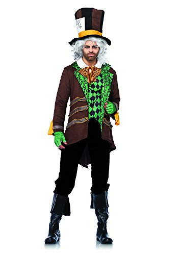 Leg Avenue Men's 5 Piece Classic Mad Hatter Costume, Brown, Medium/Large (Men Mad Hatter Costume)