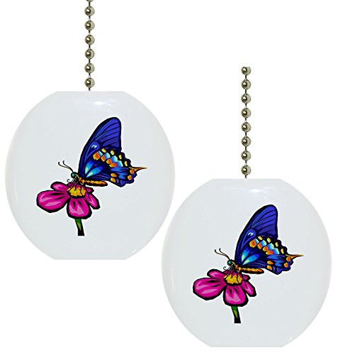 Set of 2 Butterfly Pink Flower Solid CERAMIC Fan Pulls by Carolina Hardware and Decor