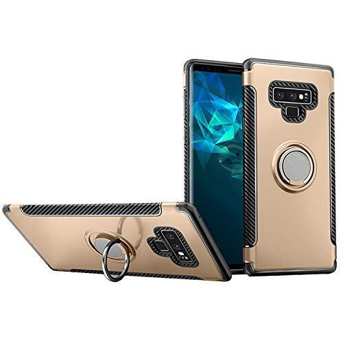 Hayder Galaxy Note 9 Case, Car Magnetic Kickstand 360 Degree Ring Holder Protection Cover(Gold)