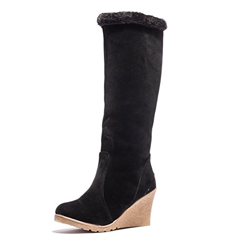Ifantasy Winter Warm Snow Boots For Women Suede High Heel Wedges Buckle Mid Calf (High Heel Wedge Boots)