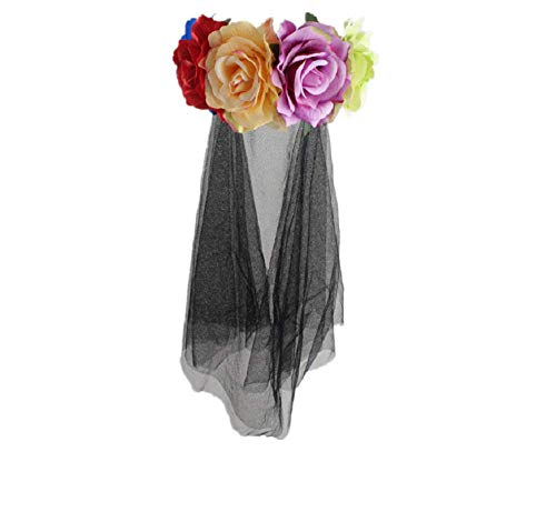 Floral Headband with Veil Flower Headband Headpiece Lace Mask Veil Headband Party Decor for Halloween Nightclubs Masquerade Costume Fancy Decor - Colorful -