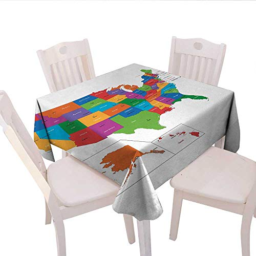 haommhome Wanderlust Picnic Tablecloth Colorful USA Map with States and Capital Cities Washington Florida Indiana Print Party Tablecloth 36
