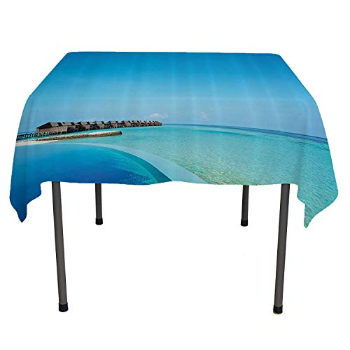 - House Decor Collection custom tablecloths Infinity Pool in the Maldives Bungalows Horizon Ocean Tropics Sky Honeymoon Picture Print outdoor tablecloth waterproof Spring/Summer/Party/Picnic 54 By 54