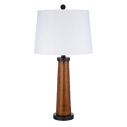 Stone Beam Modern Farmhouse Wood Cylinder Table Desk Lamp With LED Light Bulb And White Shade- 14 x 14 x 27 Inches