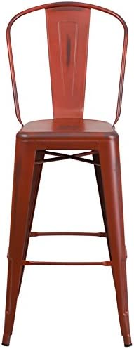 Oliver 30 H Distressed Red Metal Indoor-Outdoor Barstool w//Back Emma