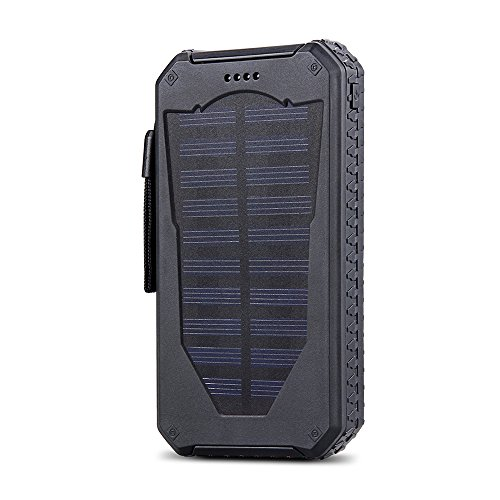 15000mAh Outdoor Dual USB Portable Solar Power Bank Charger (Black)