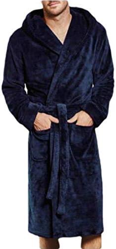 メンズソリッドシッケンフリースローブバスローブガウンパジャマスリープウェアポケットローブナイトガウンスリープシャツ