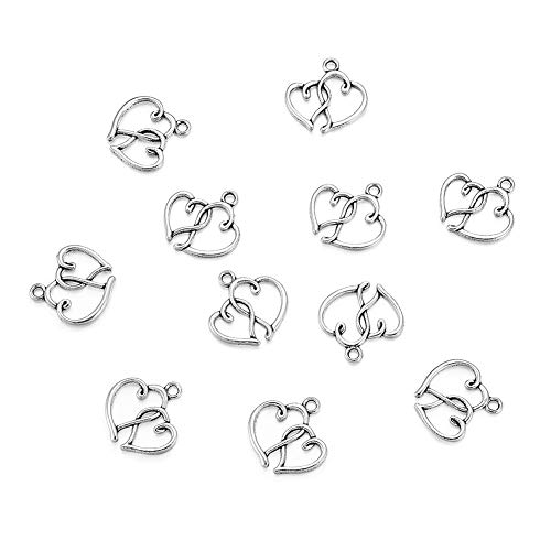 Craftdady 20Pcs Antique Silver Double Linked Tibetan Style Heart Charms Heart to Heart Pendants Cadmium Free & Nickel Free & Lead Free 20x19x2mm