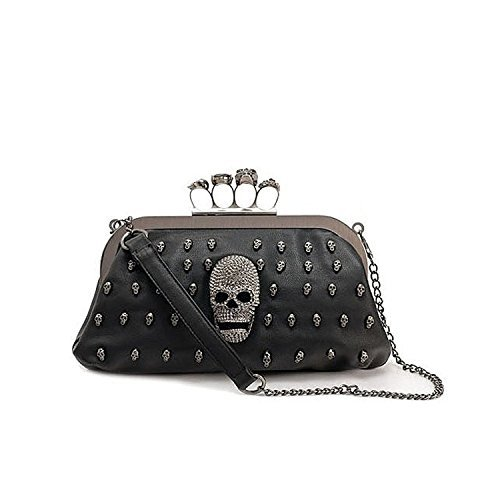 Tinksky Cool Skull Knuckle Ring Soft PU Handbag Tote Bag Shoulder Bag Evening Clutch Bag Party Bag, Valentine's Day gift