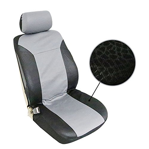 ECCPP Universal Car Seat Cover w/Headrest/Steering Wheel/Shoulder Pads - 100% Breathable Embossed Cloth Stretchy Durable for Most Cars Trucks Vans(Black/Gray) by ECCPP (Image #1)