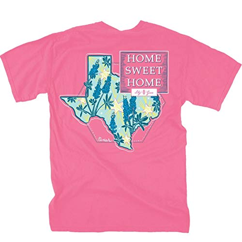 Lily Grace Home Sweet Home Texas - Crunchberry Pink | Short-Sleeve Cotton T-Shirt (Grace Womens Pink T-shirt)