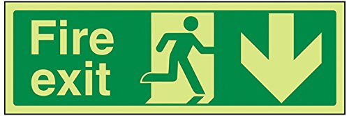 VSafety 14002AX-G'Fire Exit Arrow Down' Sign, Glow In Dark, 1 mm Plastic, Landscape, 300 mm x 100 mm, Green VSafety Ltd.