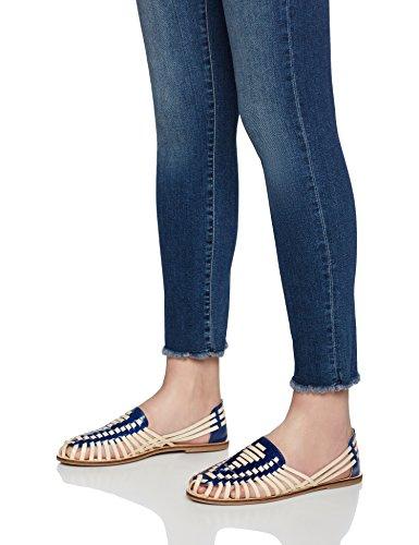 FIND Sandalias de Cuero Trenzado para Mujer Varios Colores (Tan/navy)