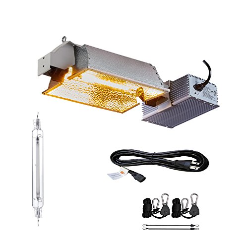 TopoGrow 1000W Double Ended HPS Grow Light Kit Fixture Complete with 2000K HPS Bulb 120V/240V Ballast 16FT 120V Plug (1000W Enclosed Kit) (Best Air Cooled Reflector For 1000w)