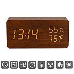 Digital Alarm Clock, Wood LED Adjustable Brightness Voice Control Desk Wooden Alarm Clock with Day/Date/Temperature and Humidity USB/Battery Powered for Office, Home, Kids