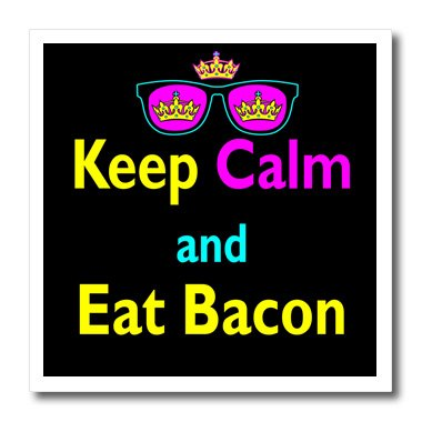 3dRose ht_116626_3 CMYK Keep Calm Parody Hipster Crown, Sunglasses Keep Calm and Eat Bacon-Iron on Heat Transfer for White Material, 10 by - Sunglasses Bacon