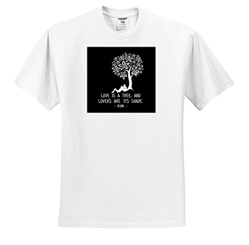 Alexis Design - Love - Decorative Tree, Loving Couple. Love is a Tree. Rumi Quote on Black - T-Shirts - Toddler T-Shirt (2T) (ts_285854_15) by 3dRose