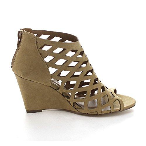 2 Sandals Camel Zip Wedge Back Womens Bonnibel Trina Out Cut 5fvv8q