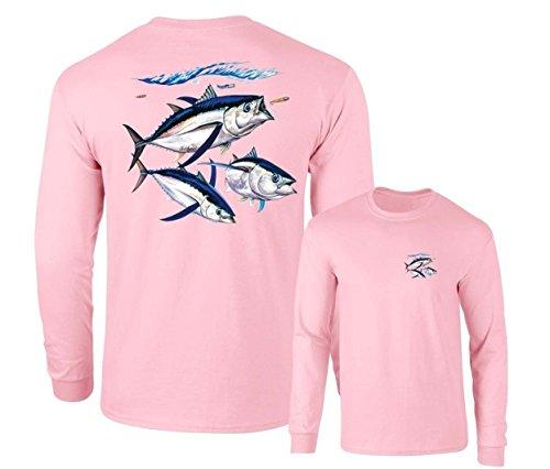 (Albacore Tuna Fish Salt Water Fishing Long Sleeve T-Shirt, Pink, L)