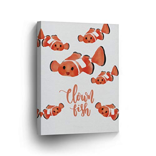 Cute Clown Fish Undersea Watercolor Painting White Background Canvas Print Kids Room Decor Wall Art Baby Room Decor Kids Room Decor Nursery Decor Stretched Ready to Hang- Handmade in The USA-28x19