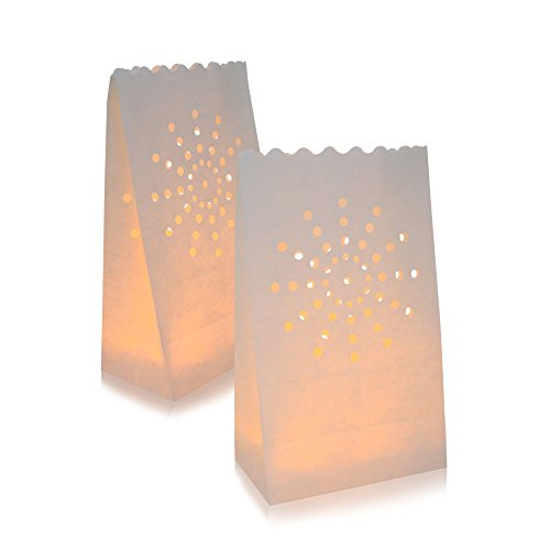 AceList 30 Packs Luminary Paper Lantern, Candle Tealight Tea Light Bag Bags Flame Resistant Paper for Party Wedding Reception Party and Event Decor ()