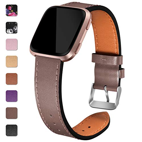 Maledan Compatible with Fitbit Versa Bands Women Men, Genuine Leather Strap Accessories Band Replacement for Fitbit Versa/Versa Lite/Versa Special Edition, Small, Taupe