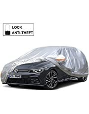 Kayme Car Cover Waterproof All Weather with Lock and Zipper, Outdoor Sun Uv Rain Protection, Fit Hatchback (Up to 177 Inch)