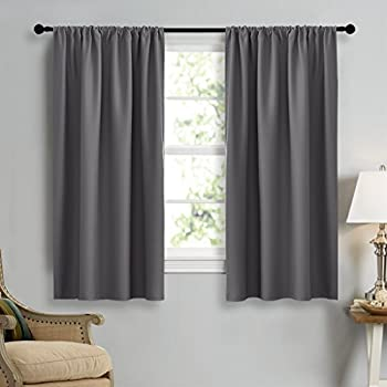 Blackout Gray Curtains Panels For Window   NICETOWN Energy Efficient U0026  Noise Reducing Thermal Insulated Rod